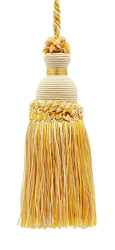 Dekorative Schlüsselquaste, 13 cm, helles Sand, Gold, Imperial II Kollektion, Stil # IKTJ, Farbe: Zitronengelb – B2523