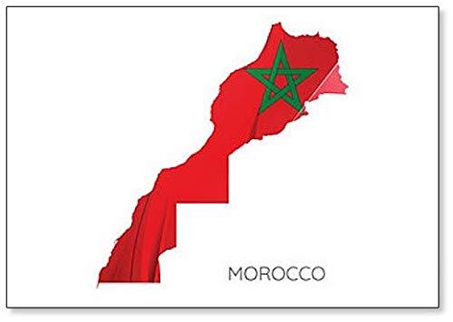 Imán para nevera con diseño de mapa de Marruecos con bandera