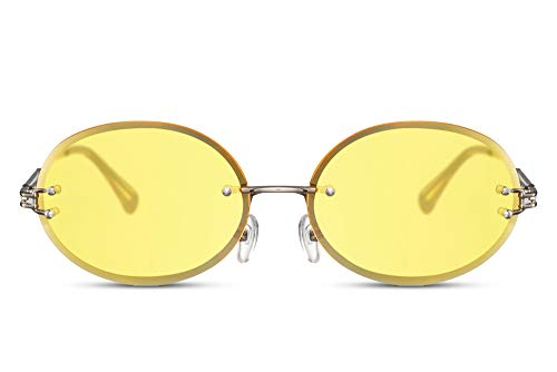 Cheapass Gafas de Sol Sin montura Ovaladas Festival Fiesta Translúcido Estilo Metálicas Plateadas con Amarillas Lentes Protección UV400 Hombres Mujeres