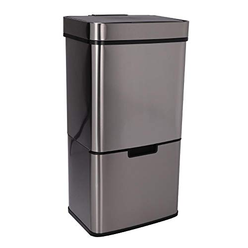 Afvalscheidingssystemen, afvalemmer met sensor, vuilnisemmer keuken afvalbak van roestvrij staal, met compostebak, 72 liter, 42 x 31,5 x 82,5 cm