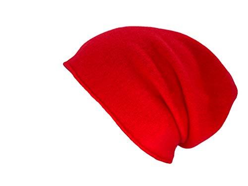 Kopka Wintermütze Strickmütze für Damen/Herren aus 100% Merinowolle (rot/Feuer)