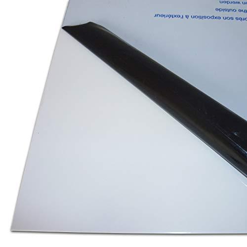 B&T Metall Aluminium Blech-Zuschnitt weiß lackiert RAL 9016, foliert | 1,5mm stark | Größe 30 x 50 cm (300 x 500 mm)