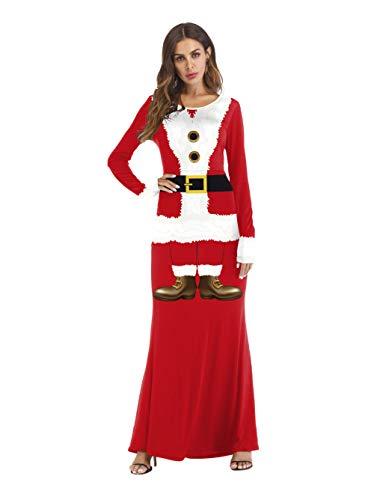 QueenAILSA Cos Dress Up Ball Western Santa Vestido Ajustado De Manga Larga @ XL
