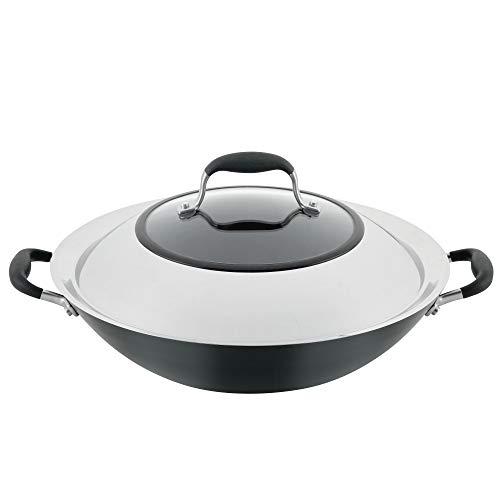 Anolon Advanced Home Hard-Anodized Nonstick Open Stock Cookware (14' Wok, Onyx)