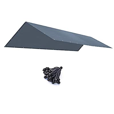 BenefitUSA New Colors-10'X20' Carport Canopy Replacement Carport Top Cover for Garage Shelter, w/Ball Bungees, Cover ONLY (Grey)
