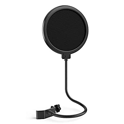 Microphone popfilter, Jeemak Swivel Double Layer Sound Shield Guard for Blue Yeti and Any other Mic, Windscreen with Flexible 360° Gooseneck and Adjustable Clip Arm