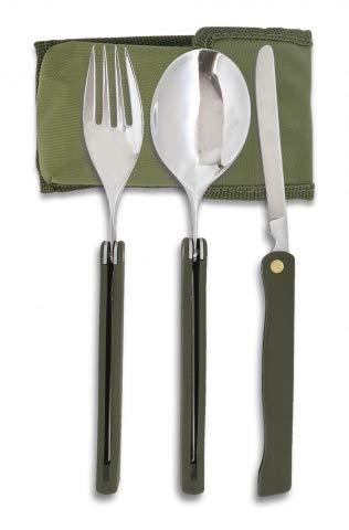 Albainox 11001 Set Camping Albainox 3 pièces Sac à outils pour la chasse, la pêche, le camping, l'extérieur, la survie et le bushcraft + porte-bouteille en cadeau