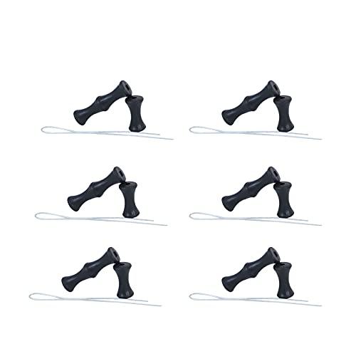 Protector De Dedos De Tiro con Arco Negro, Protector De Tiro con Arco Silicona, Protección De Los Dedos para Todo Tipo De Tiro con Arco, Caza, Torneos y Otras Actividades. (Juego Negro De 6 Piezas)