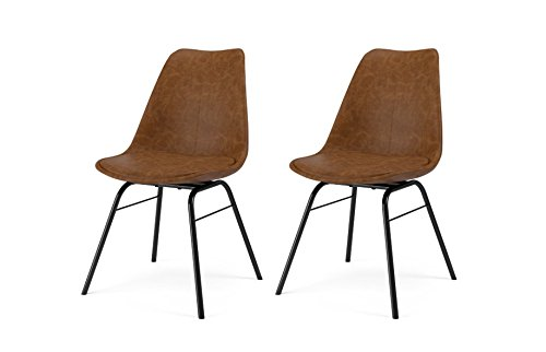 Tenzo 3235-260 Designer Lot de 2 chaises, Marron/Noir, Coque en polypropylène garnie de mousse, recouverte de polyuréthane look vintage. Pieds en acier laqué, 83,5 x 48,5 x 54 cm (HxLxP)