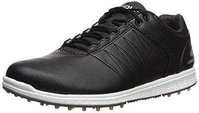 Skechers Men's Pivot Spikeless Golf Shoe, Black/White, 10 M US