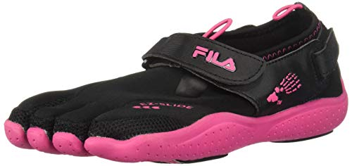 Fila Skele-Toes EZ Slide Drainage Lighted Sandal (Toddler/Little Kid/Big Kid),Black/Hot Pink,1 M US Little Kid