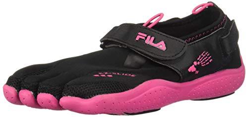 Fila Skele-Toes EZ Slide Drainage Lighted Sandal (Toddler/Little Kid/Big Kid),Black/Hot Pink,4 M US Big Kid