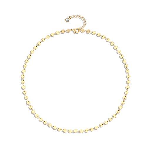 Fettero Dainty - Gargantilla de Oro de 14 Quilates Hecha a Mano con Borla Hueca en Forma de corazón, Cadena Bohemio para el día de la Madre, joyería de Regalo