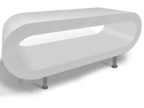 Zespoke Design Retro Todo Blanco Café Aro de Soporte de Mesa/TV en Varios Tamaños