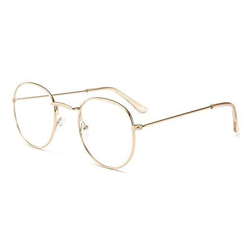 Gafas De Sol Polarizadas Gafas De Sol con Montura De Metal Dorado, Gafas De Sol Redondas con Espejo para Mujer, Gafas De Sol Retro Reflectantes con Revestimiento, Gafas De Ten