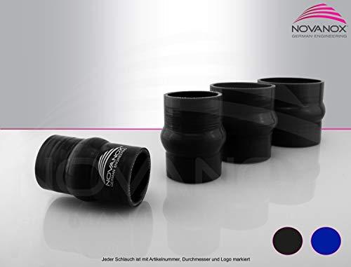 NovaNox German Engineering® Raccord de bourrelet en silicone - 1 compartiment intérieur - 80 mm - Noir - Tuyau universel - Tuyau turbo - Épaisseur de paroi : 5 mm - Diamètre : 80 mm