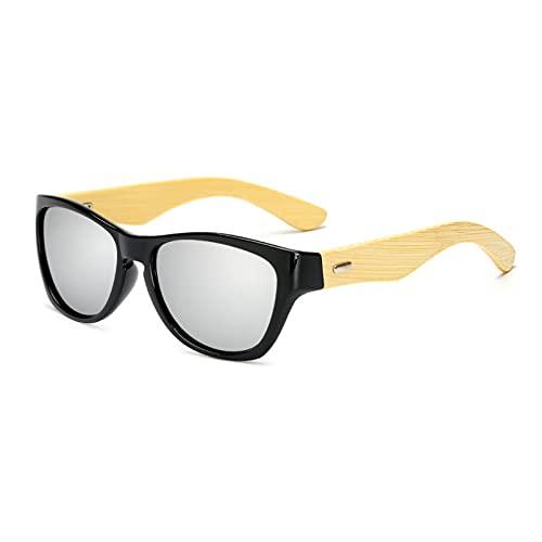 SKJH Gafas de Sol de bambú de Madera para Hombres y Mujeres con Espejo UV400, Gafas de Sol para Exteriores, Gafas de Sol para Hombre