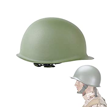 AMSUER WWII US Military Steel M1 Helmet Cosplay Outdoor Army Game Collectable Replica Field Green Large