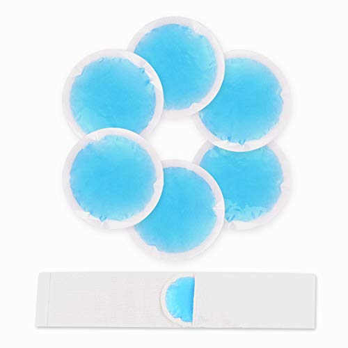 NEWGO®Small Ice Packs for Injuries Reusable 6 Pack Ice Heat Gel Cold Pack with Cloth Backing & Sleeve for Pain Relief, Wisdom Teeth, Breastfeeding, Tired Eyes, Face, Headaches