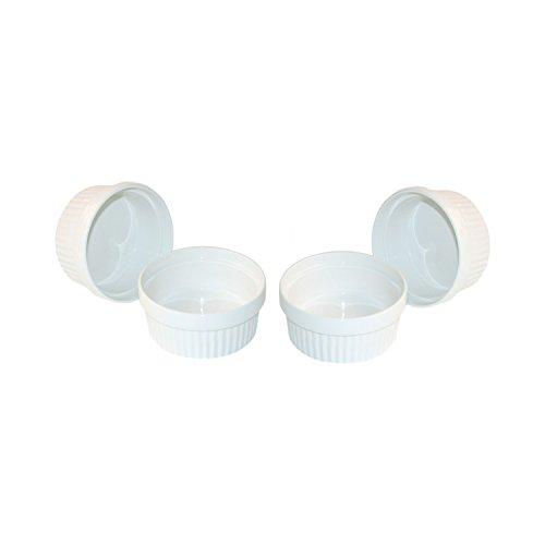 ToCi Lot de 6 ramequins blancs pour crème brûlée 11 cm | Coupelles pour ragoûts fin | Moule à tarte en céramique | Convient également pour le chocolat et le fumé