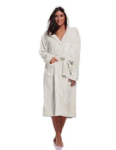 Luvrobes Women's Plush Fleece Hooded Robe Ultra-Soft Long Bathrobe (M/L,Lavender)