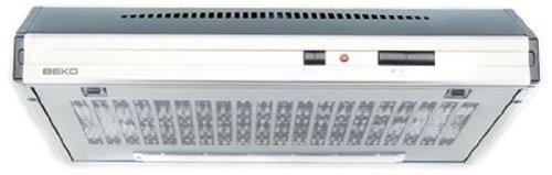 Beko CFB 6432 X - Campana (Canalizado, 300 m³/h, 61 Db, Incorporado, Acero inoxidable, Color blanco, Barra de desplazamiento), 59,8 x 48,2 x 15 cm
