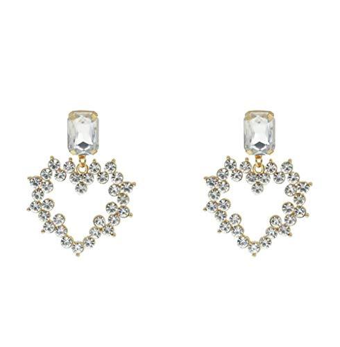 MXHJD Pendientes colgantes de Color blanco para mujer, corazón de cristal, diseño grande, colgante de lujo, diamantes de imitación, pendientes colgantes, joyería, regalos