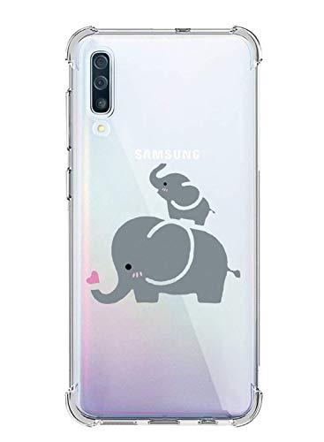 Oihxse Funda Compatible para Huawei Y7 Pro 2018 Ultra Delgada Ligera Transparente Silicona TPU Gel Suave Carcasa Elegante Patrón Lindo Bumper Anti-Rasguño Protector Caso Case (Elefante)