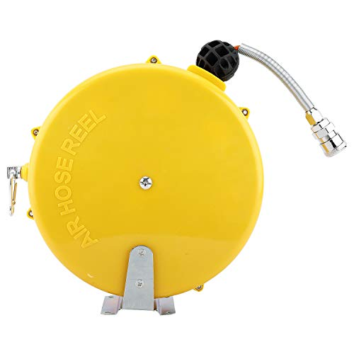 Yaegarden Mini Air Hose Reel With 1/4in. x 26ft Retractable Rubber Hose