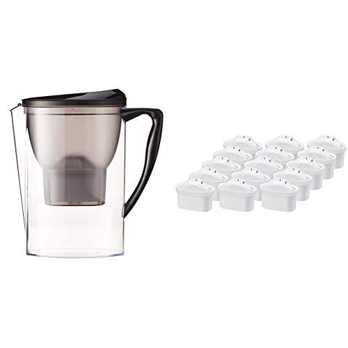 AmazonBasics - Krug mit Wasserfiltereinsatz, 2,3 l, mit 15er-Packung Wasserfilter-Patronen + 1 gratis, insgesamt 16 Stück - für Brita-Maxtra®-Krüge (nicht Maxtra+®)