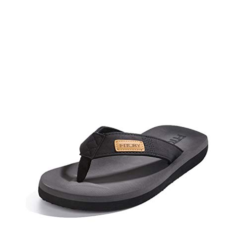 FITORY Men's Flip-Flops, Thongs Sandals Comfort Slippers for Beach Black Size 13