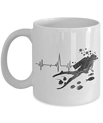 Taza té cerámica uso prolongado Buceo con escafandra de latido del corazón apenado Retro Vintage Buceo con latido de corazón angustiado retro vintage Taza bebida café Regalo