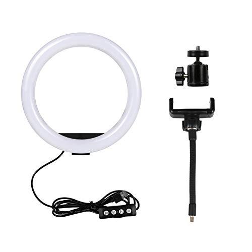 para teléfono Celular Estudio Regulable LED Selfie Light con trípode USB Selfie Lámpara de Anillo de luz Gran fotografía de fotografía con Soporte (Color : 10inch Ring Light)