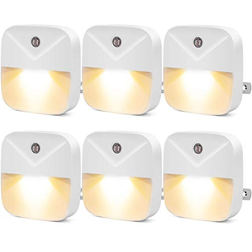 LED Night Light, Warm White Plug in nightlights with Dusk-to-Dawn Sensor for Bedroom, Bathroom, Kitchen, Hallway, Stairs, 6-Pack (Warm White)