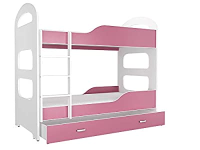 FurnitureByJDM Quality Bunk Bed for Kids - DOMINIC - With Mattresses and Storage Drawer.