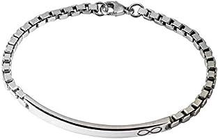 Aka Gioielli® - ID Armband Herren mit Unendlichkeit Tag 925 Sterling Silber Rhodiniert - Venezianierkette 3.8 mm - Länge...