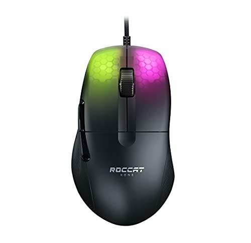 ROCCAT Kone Pro PC Gaming Mouse, Lightweight Ergonomic Design, Titan Switch Optical, AIMO RGB Lighting, Superlight Wired Computer Mouse, Titan Scroll Wheel, Honeycomb Shell, 19K DPI, Black