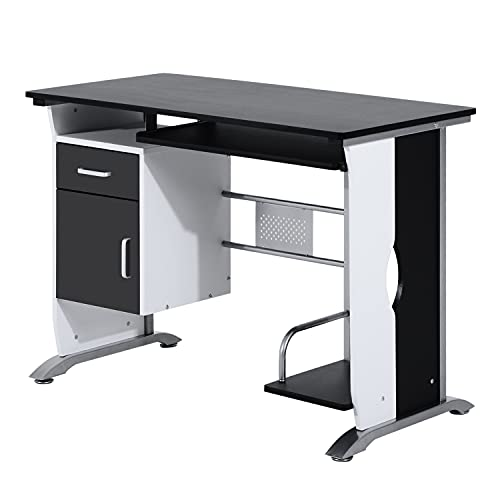 HOMCOM Computer Desk with Sliding Keyboard Tray Storage Drawers and Host Box Shelf Home Office...