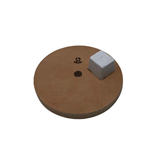 5' (1/2' Width) Leather Honing Wheel - Fits 1/2' Arbor - Buffing Compound Included