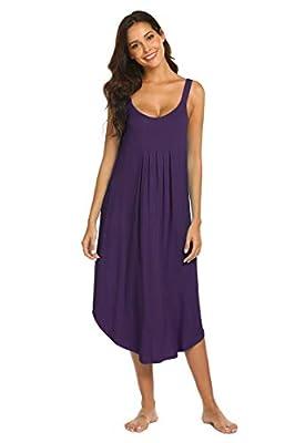 Ekouaer Long Nightgown Womens Scoop Neck Chemise Tank Sleep Dress Sleepwear (Purple M)