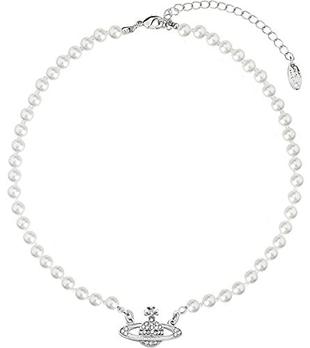 LIHELEI Collar de perlas Saturno para mujer, collar de perlas planeta, collar de plata de ley Saturno perla, gargantilla de orbe de perlas, joyería minimalista