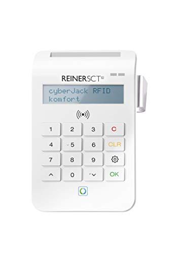 REINER SCT cyberJack RFID Chip-Kartenlesegerät Komfort | Multi-Applikationsfähig für z.B. Elster; Online-Banking; Personalausweis, weiß