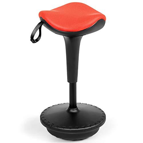 COSTWAY Bürohocker ergonomisch, stehender Schreibtischstuhl, Lernhocker höhenverstellbar, Sitzhocker neigbar, Drehhocker (orange)