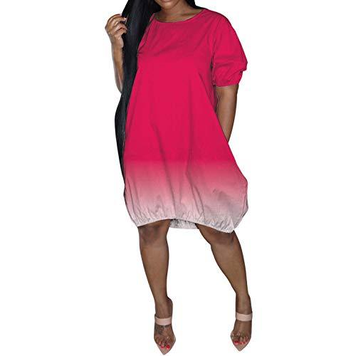 HIRIRI Women's Gradient Color Short Sleeve Midi Dress Loose Crew Neck Summer Casual Beach Holiday Plus Size Skirt Hot Pink
