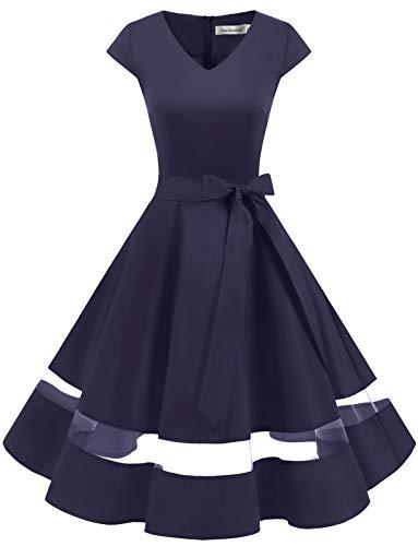 Gardenwed 1950er Vintage Retro Rockabilly Kleider Petticoat Faltenrock Cocktail Festliche Kleider Cap Sleeves Abendkleid Hochzeitkleid Navy S