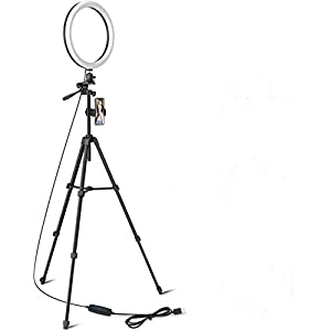 TaoTronics 12″ Selfie Ring Light with 16″-62″ Adjustable Tripod Stand,2 Phone Holders,Bluetooth Remote Shutter Compatible with iOS/Android for Zoom/Makeup/YouTube,160 bulbs,3X10 color Choice with Bag