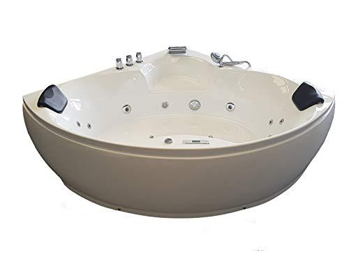 Baignoire balneo Ouest-balnéo baignoire angle 152cm x 152cm x 62cm (1 spot LED 7 couleurs, 20 jets massant, blanche, grande...