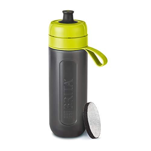 BRITA Wasserfilter-Flasche fill&go Active Limone – Robuste Sport Trinkflasche mit Wasserfilter für unterwegs aus BPA-freiem Kunststoff – Zusammendrückbar