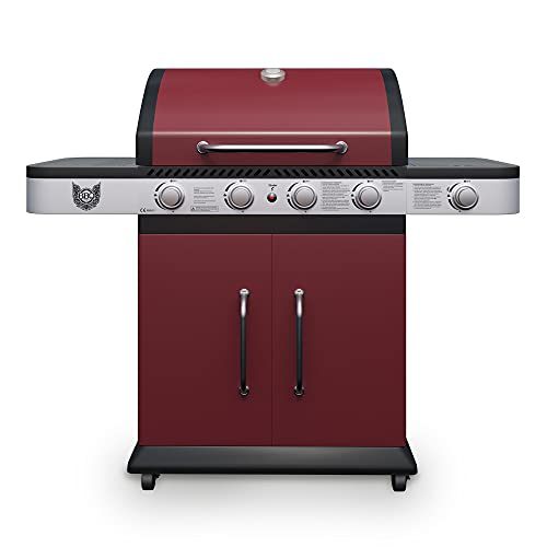 Gasgrill BBQ Chief Lava 4+1 - Grillwagen in der Farbe Rot - attraktives Design - 4 Edelstahl-Brenner, 1 Seitenbrenner und Gusseisen Grillrost