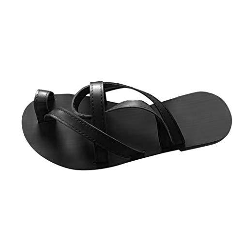 AIni Zapatos Casuales Romanos Vintage Calzado De Playa Bohemio De Verano Sandalias Planas con Puntera Sandalias Recortables Chanclas OrtopéDicas Sandalias De Plataforma Verano Negro MarróN 35-